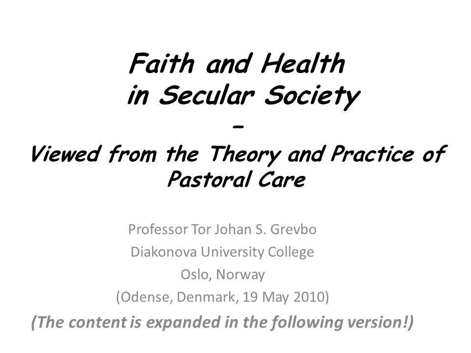 Main Intensions To present pastoral care as the most widely spread art of dealing with troubled people from a specific Christian point of view (This will be done in great respect for other caring traditions with many similar traits!) To paint a nuanced picture of our so called secular age To let research and questions from the field of psychology of religion meet pastoral care constructively and critically, and vice versa.