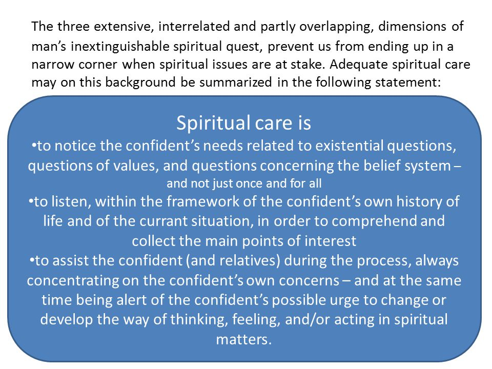 The three extensive, interrelated and partly overlapping, dimensions of man's inextinguishable spiritual quest, prevent us from ending up in a narrow corner when spiritual issues are at stake.