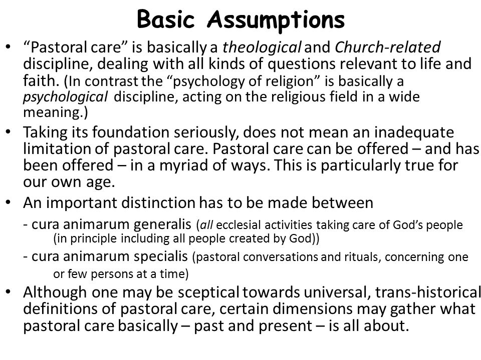 Eight Dimensions of Pastoral Care 1.Healing (as restoration, and/or finding new depths and hopes in life, cf.