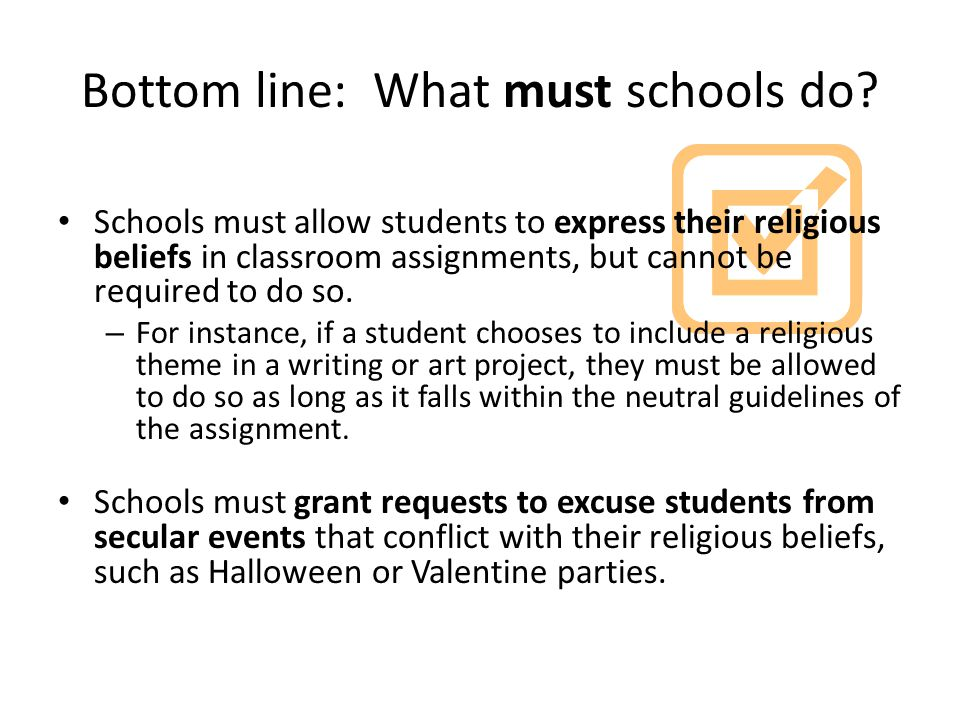 Bottom line: What must schools do.