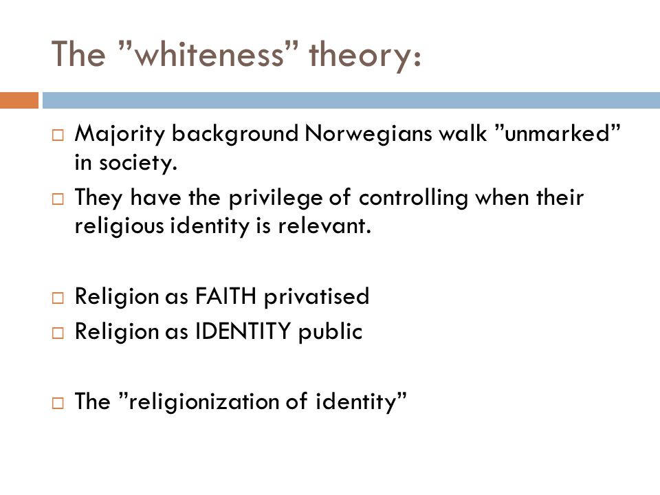 The whiteness theory:  Majority background Norwegians walk unmarked in society.