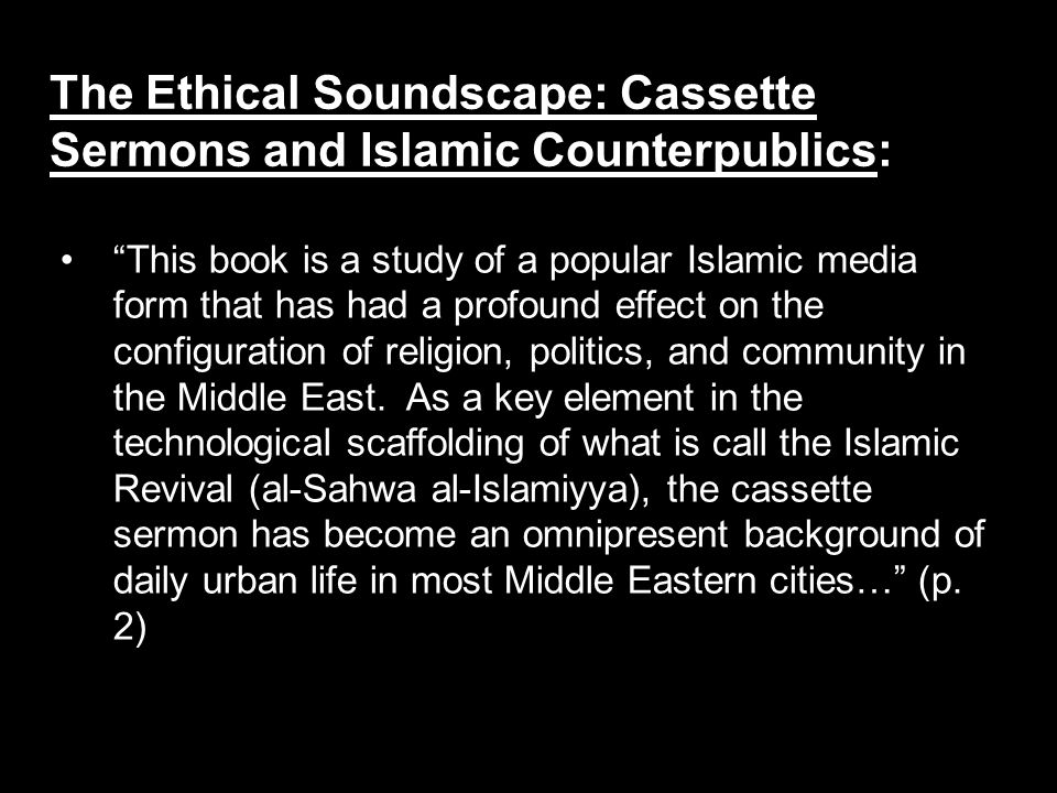 This book is a study of a popular Islamic media form that has had a profound effect on the configuration of religion, politics, and community in the Middle East.