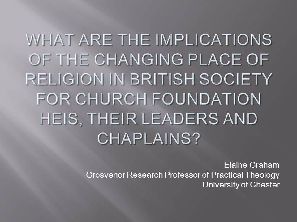 Elaine Graham Grosvenor Research Professor of Practical Theology University of Chester