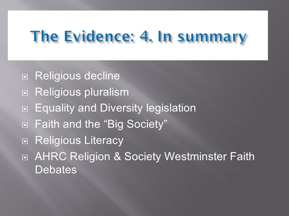  Religious decline  Religious pluralism  Equality and Diversity legislation  Faith and the Big Society  Religious Literacy  AHRC Religion & Society Westminster Faith Debates
