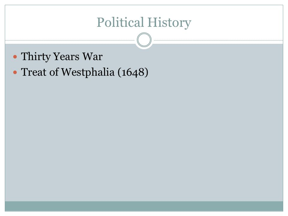Political History Thirty Years War Treat of Westphalia (1648)