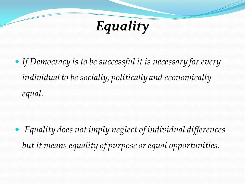 equality is not possible