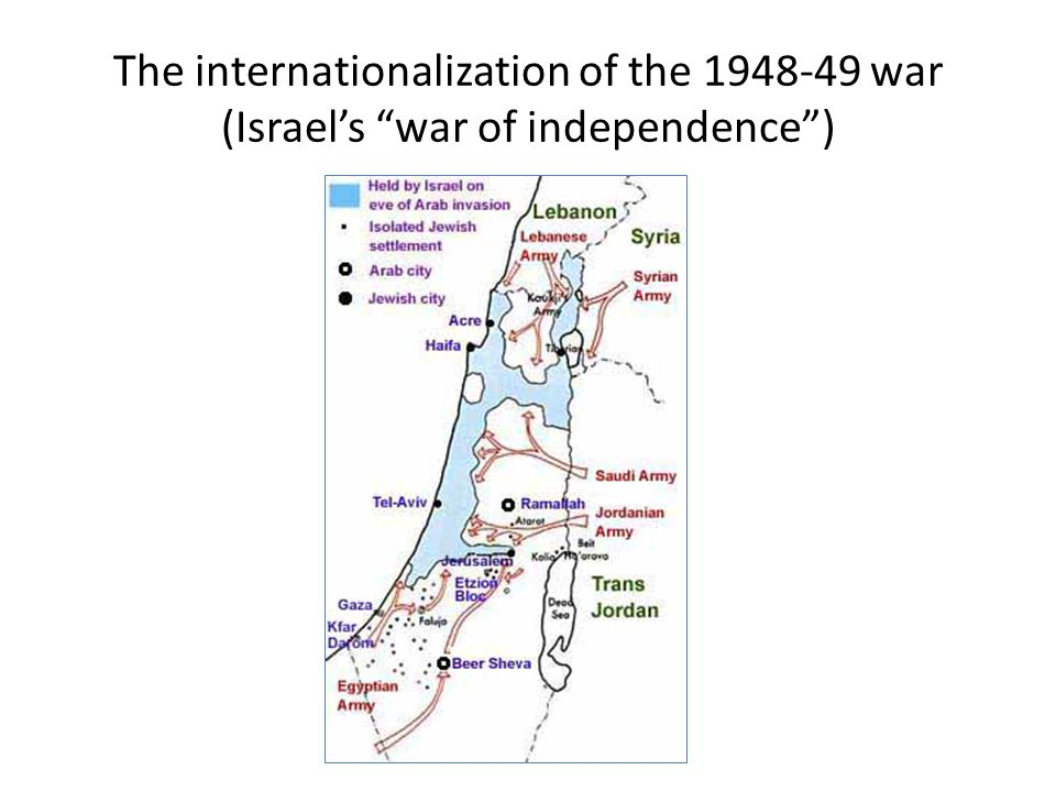 The internationalization of the 1948-49 war (Israel's war of independence )