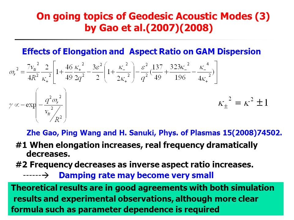 On going topics of Geodesic Acoustic Modes (3) by Gao et al.(2007)(2008) Effects of Elongation and Aspect Ratio on GAM Dispersion #1 When elongation i
