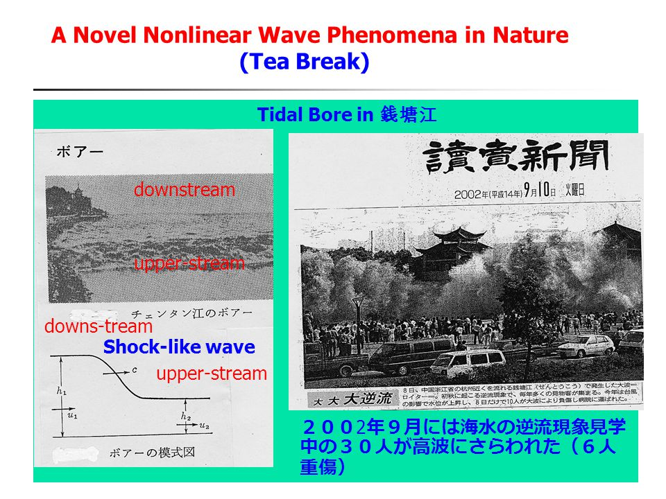 A Novel Nonlinear Wave Phenomena in Nature (Tea Break) Tidal Bore in 銭塘江 200 2 年9月には海水の逆流現象見学 中の30人が高波にさらわれた(6人 重傷) Shock-like wave downstream upper-s