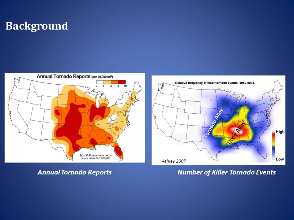 Background Number of Killer Tornado EventsAnnual Tornado Reports Ashley 2007 Dixie Alley