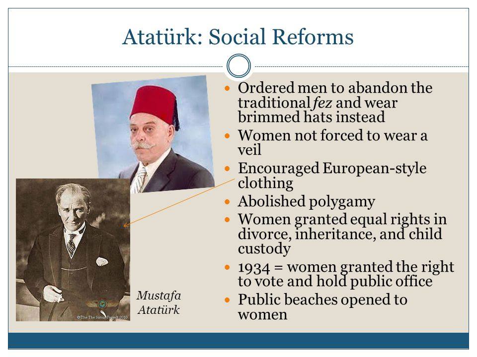 Atatürk: Social Reforms Ordered men to abandon the traditional fez and wear brimmed hats instead Women not forced to wear a veil Encouraged European-style clothing Abolished polygamy Women granted equal rights in divorce, inheritance, and child custody 1934 = women granted the right to vote and hold public office Public beaches opened to women Mustafa Atatürk