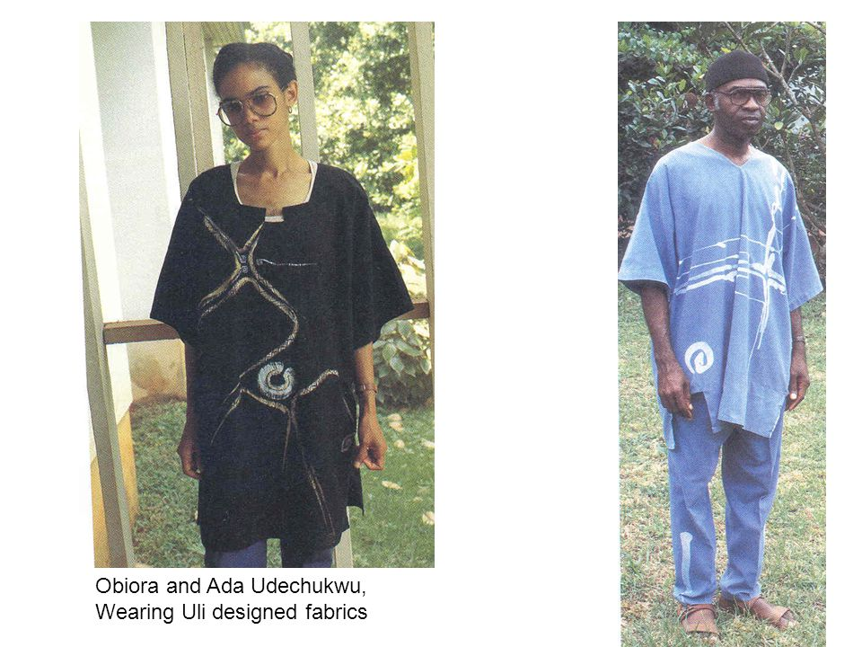 Obiora and Ada Udechukwu, Wearing Uli designed fabrics