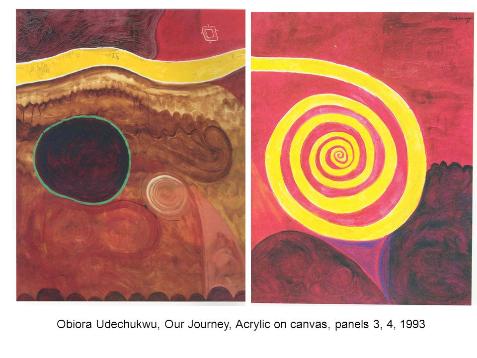 Obiora Udechukwu, Our Journey, Acrylic on canvas, panels 3, 4, 1993