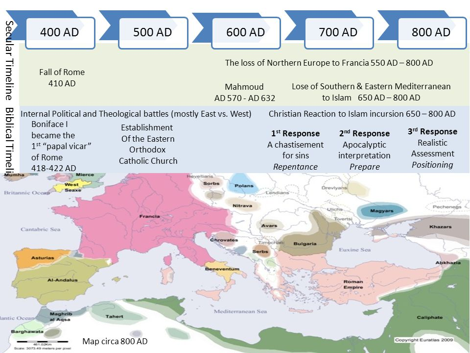 The Dark Ages 800 AD900 AD1000 AD1100 AD1200 AD Biblical Timeline Secular Timeline Papal revival Under Leo IX 1049 The Holy Roman Empire was a German Empire established in 962 AD Europe Main Map at the Beginning of the Year 1200 Schism between East & West 1054 1 st Crusade 1096-99 2 nd Crusade 1147-49 Caliph Al-Hakim Starts campaign To convert all Jews & Christians 1009 AD Seljuk Turks take Palestine and Jerusalem 1070-71 3rd Crusade 1187-92 Dictatus Papae 1075 Continuous Battles between Islam & Christianity