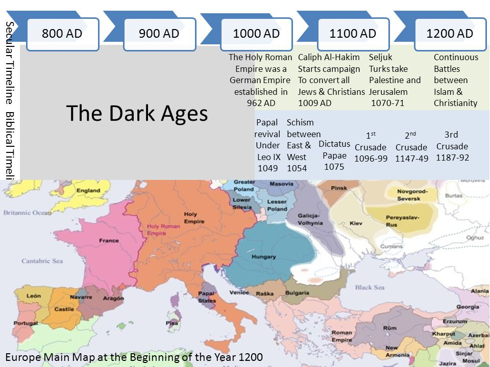 1200 AD1300 AD1400 AD1500 AD1600 AD Biblical Timeline Secular Timeline The 4 th to 8 th Crusades 1202-71 Europe Main Map at the Beginning of the Year 1600 Martin Luther 1483 – 1546 Intellectual revival and establishment of universities Aristotle's corpus became available The beginning of the age of reason Thomas Aquinas' Natural Theology 1268 Rodger Bacon introduces Math, science & Philosophy into religious Study 1285 The 1400 began a time of financial corruption in the church/state Leonardo da Vinci 1452 to 1519 Niccolò Machiavelli 1469 to 1527 The Renaissance: 1350-1550 Invention of Printing Press 1450 The Plague Killed 1 / 3 rd of Population 1347-51 John Calvin 1509- 1564 Protestants attempt to define themselves after Luther & Calvin Henry VIII Breaks with Rome 1538 The Spanish Armada 1588 Shakespeare: 1564-1616