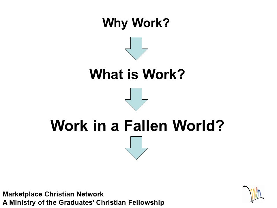 Why Work? Marketplace Christian Network A Ministry of the Graduates' Christian Fellowship Work in a Fallen World? What is Work?