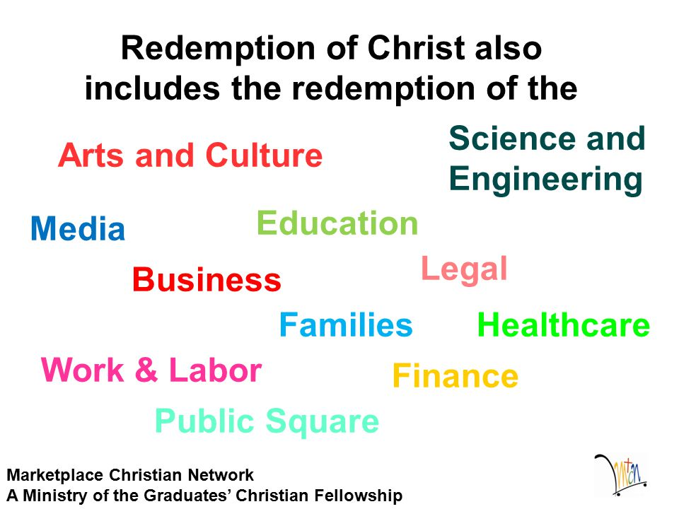 Redemption of Christ also includes the redemption of the Marketplace Christian Network A Ministry of the Graduates' Christian Fellowship Arts and Cult