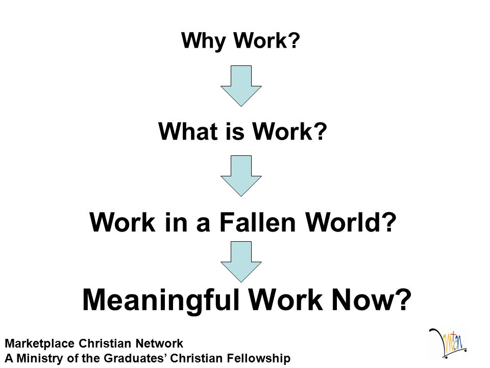 Why Work? Marketplace Christian Network A Ministry of the Graduates' Christian Fellowship Work in a Fallen World? What is Work? Meaningful Work Now?