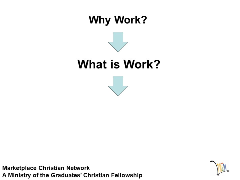 Why Work? Marketplace Christian Network A Ministry of the Graduates' Christian Fellowship What is Work?