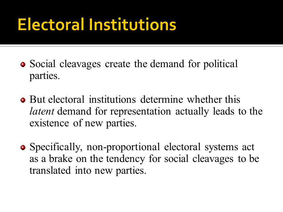 Social cleavages create the demand for political parties. But electoral institutions determine whether this latent demand for representation actually