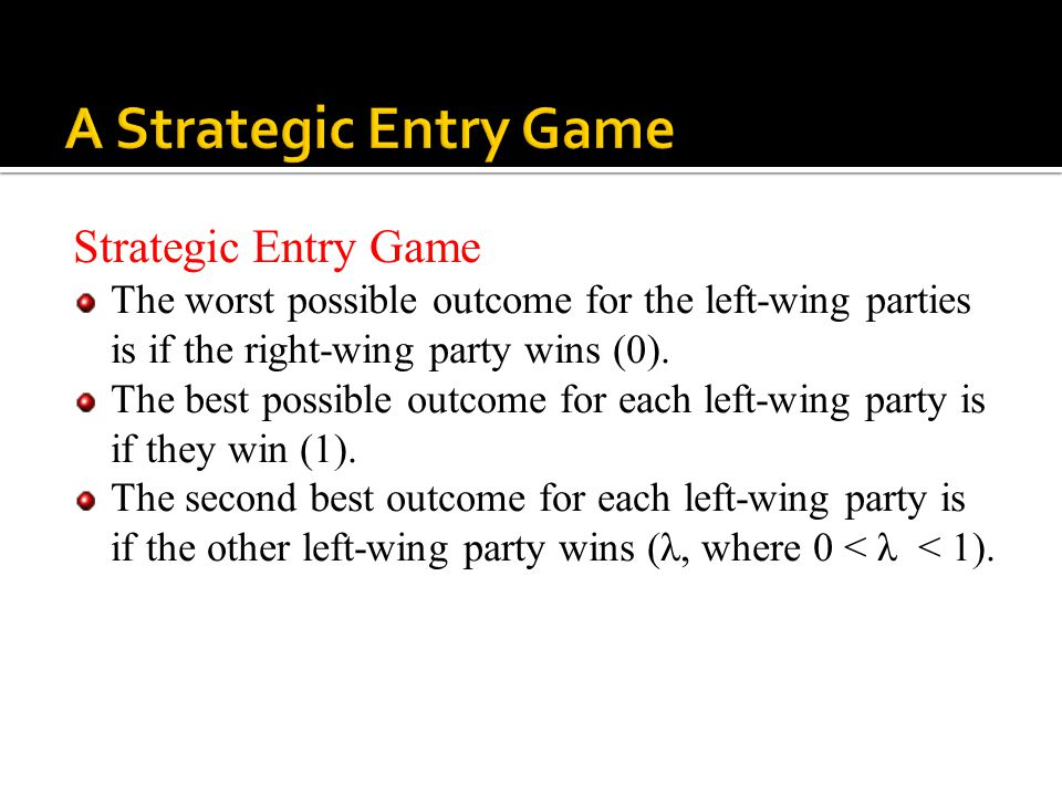 Strategic Entry Game The worst possible outcome for the left-wing parties is if the right-wing party wins (0). The best possible outcome for each left