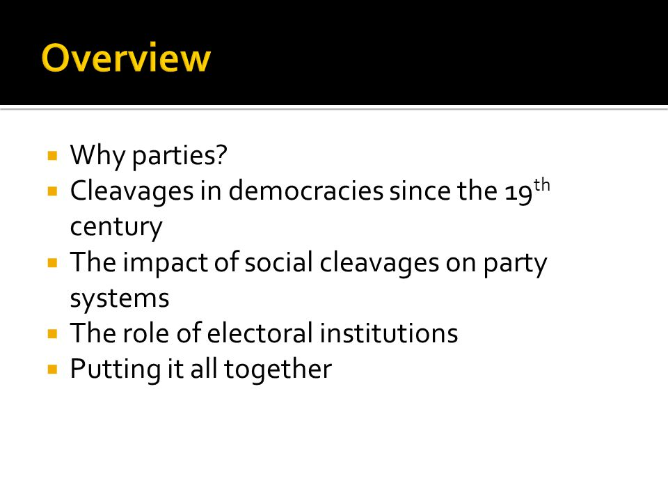  Why parties?  Cleavages in democracies since the 19 th century  The impact of social cleavages on party systems  The role of electoral institutio