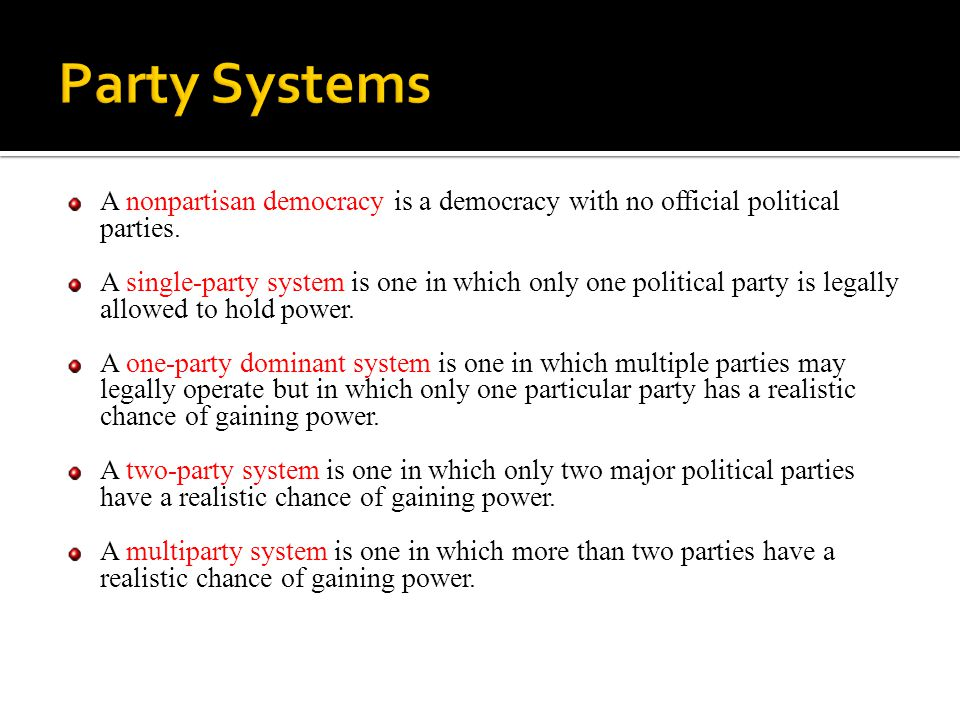 Effective Number of Parties It is a measure that weights the number of parties by the share of votes or seats they get.