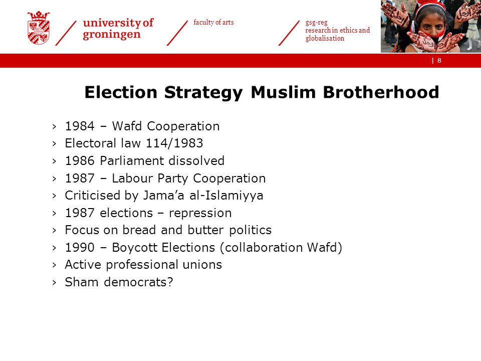 | faculty of arts gsg-reg research in ethics and globalisation Election Strategy Muslim Brotherhood ›1984 – Wafd Cooperation ›Electoral law 114/1983 ›1986 Parliament dissolved ›1987 – Labour Party Cooperation ›Criticised by Jama'a al-Islamiyya ›1987 elections – repression ›Focus on bread and butter politics ›1990 – Boycott Elections (collaboration Wafd) ›Active professional unions ›Sham democrats.