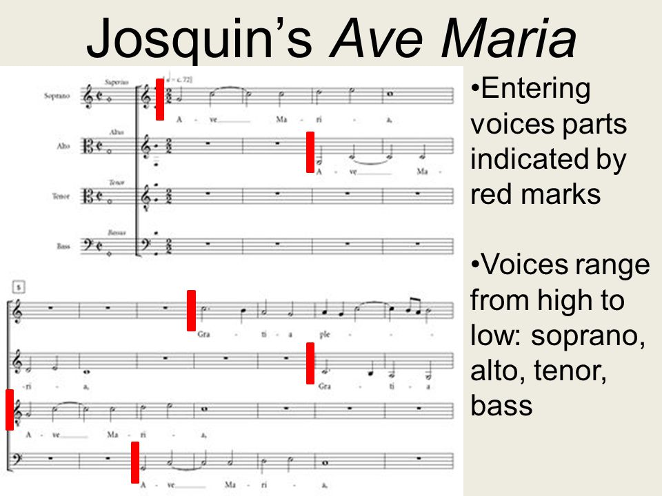 Josquin's Ave Maria Entering voices parts indicated by red marks Voices range from high to low: soprano, alto, tenor, bass