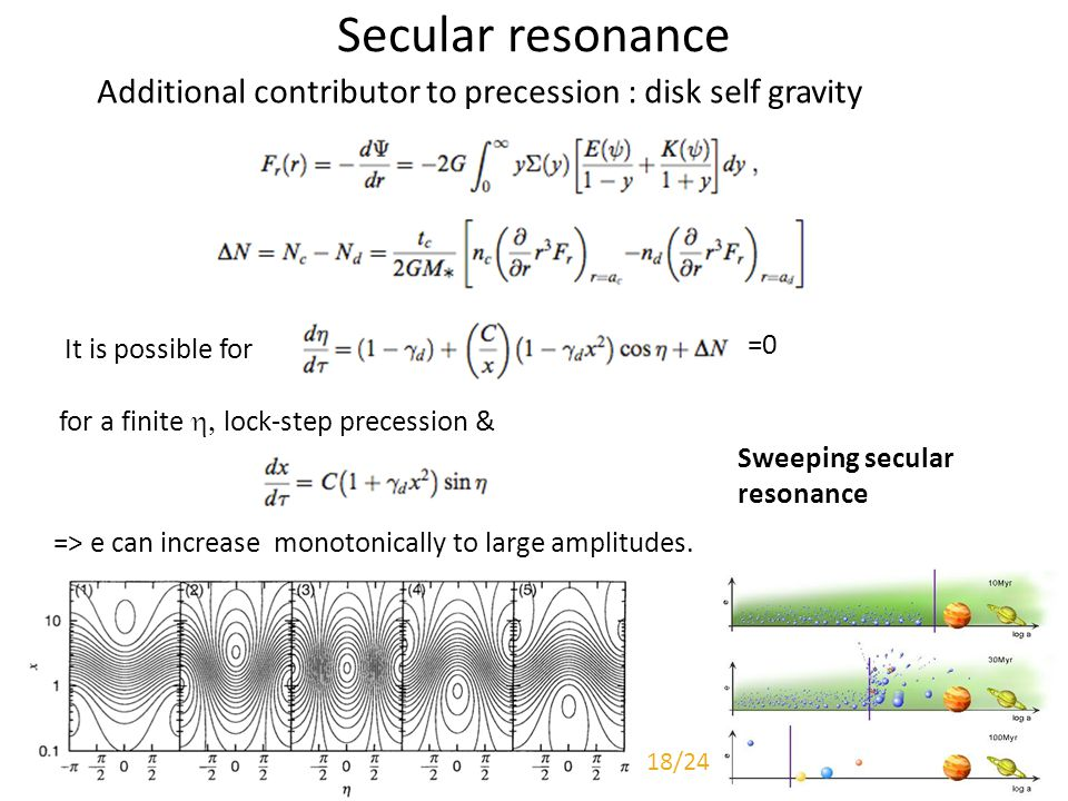 Secular resonance Additional contributor to precession : disk self gravity It is possible for =0 => e can increase monotonically to large amplitudes.