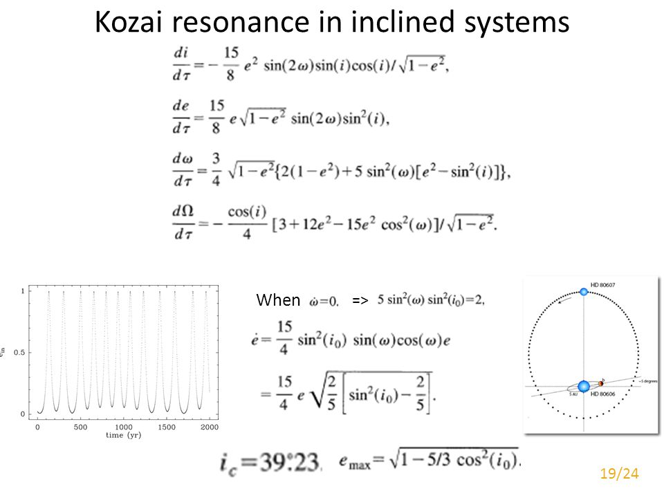 Kozai resonance in inclined systems When => 19/24