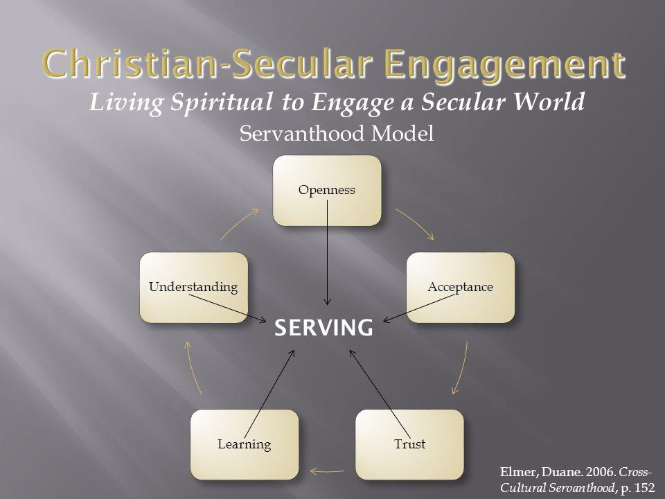 Living Spiritual to Engage a Secular World Servanthood Model OpennessAcceptanceTrustLearningUnderstanding SERVING Elmer, Duane.