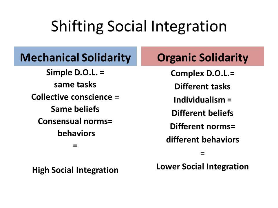 The glue that holds society together Mechanical Solidarity Homogeneity Sameness Sacred Organic Solidarity Heterogeneity Differentness Interdependent Secular Mechanical Glue is stickier than Organic Glue