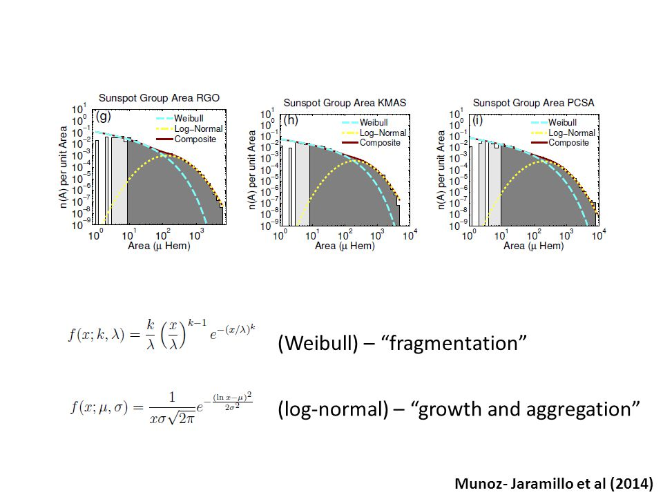 (Weibull) – fragmentation (log-normal) – growth and aggregation Munoz- Jaramillo et al (2014)