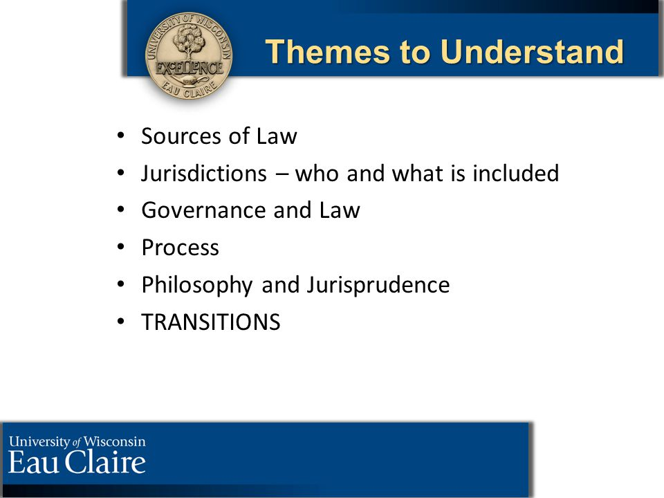 Themes to Understand Sources of Law Jurisdictions – who and what is included Governance and Law Process Philosophy and Jurisprudence TRANSITIONS