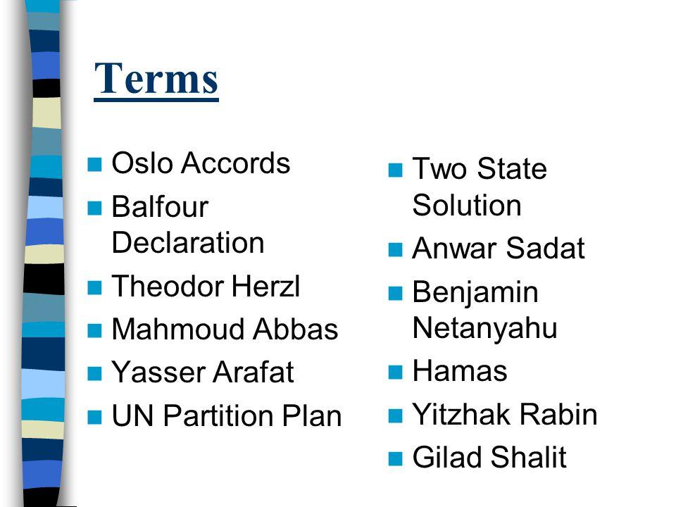 Terms Oslo Accords Balfour Declaration Theodor Herzl Mahmoud Abbas Yasser Arafat UN Partition Plan Two State Solution Anwar Sadat Benjamin Netanyahu Hamas Yitzhak Rabin Gilad Shalit