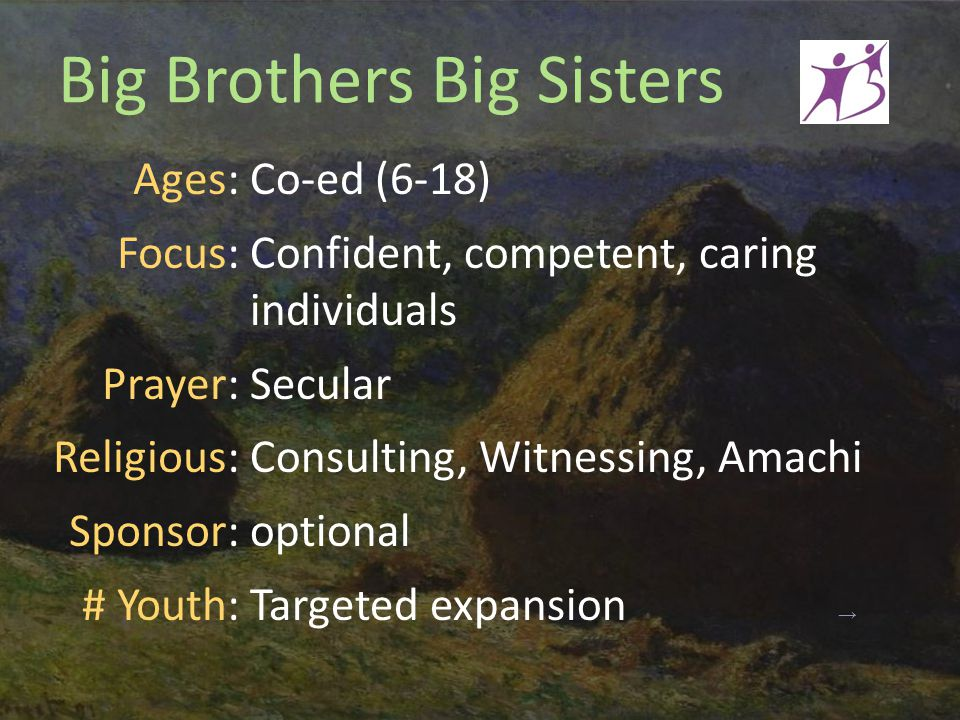 Big Brothers Big Sisters Ages: Focus: Prayer: Religious: Sponsor: # Youth: Co-ed (6-18) Confident, competent, caring individuals Secular Consulting, Witnessing, Amachi optional Targeted expansion →
