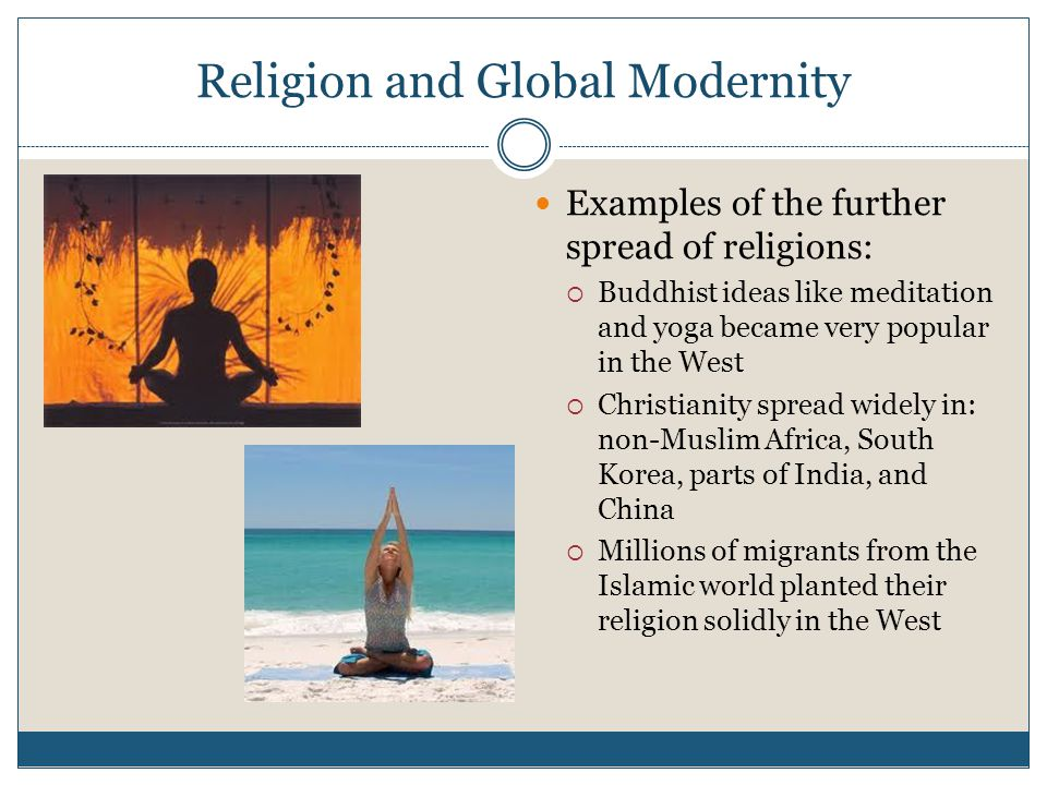 Religion and Global Modernity Examples of the further spread of religions:  Buddhist ideas like meditation and yoga became very popular in the West  Christianity spread widely in: non-Muslim Africa, South Korea, parts of India, and China  Millions of migrants from the Islamic world planted their religion solidly in the West
