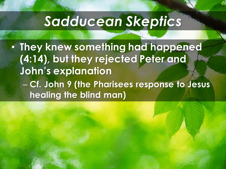 They knew something had happened (4:14), but they rejected Peter and John's explanation They knew something had happened (4:14), but they rejected Peter and John's explanation – Cf.