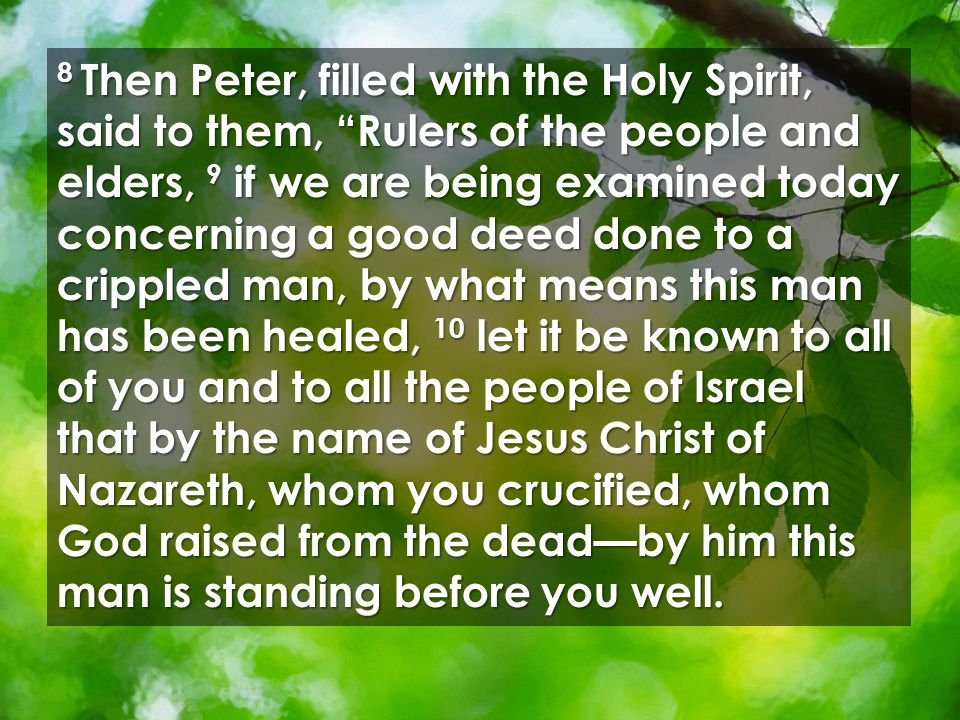8 Then Peter, filled with the Holy Spirit, said to them, Rulers of the people and elders, 9 if we are being examined today concerning a good deed done to a crippled man, by what means this man has been healed, 10 let it be known to all of you and to all the people of Israel that by the name of Jesus Christ of Nazareth, whom you crucified, whom God raised from the dead—by him this man is standing before you well.