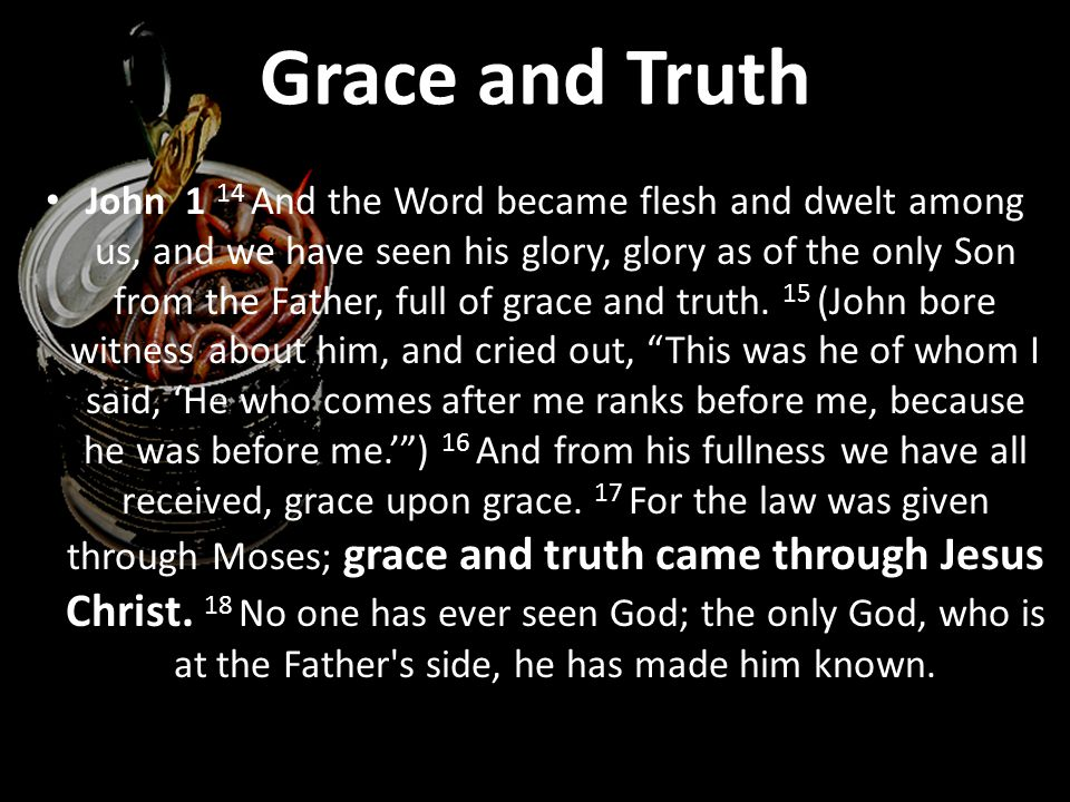 John 1 14 And the Word became flesh and dwelt among us, and we have seen his glory, glory as of the only Son from the Father, full of grace and truth.