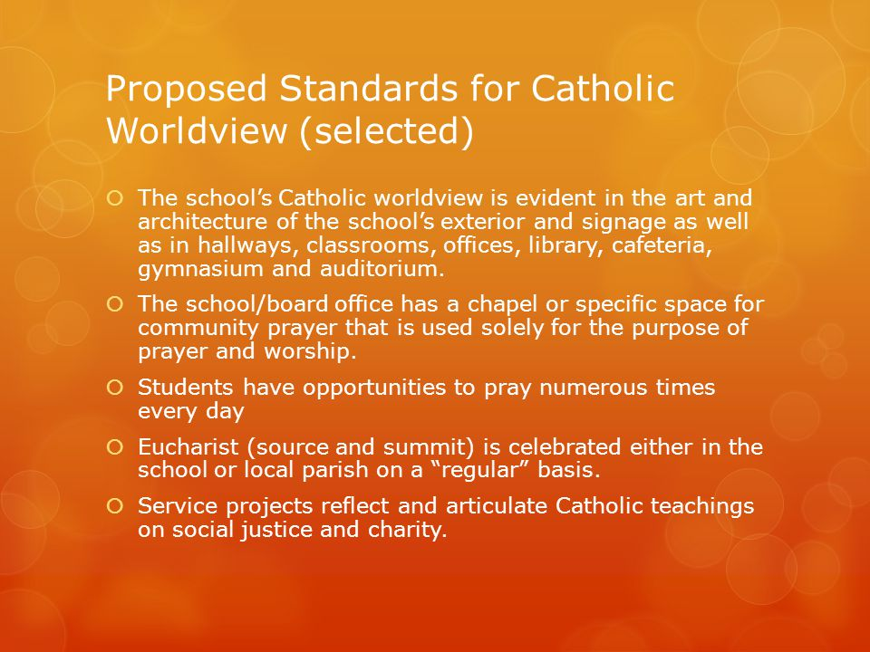 Proposed Standards for Catholic Worldview (selected)  The school's Catholic worldview is evident in the art and architecture of the school's exterior and signage as well as in hallways, classrooms, offices, library, cafeteria, gymnasium and auditorium.