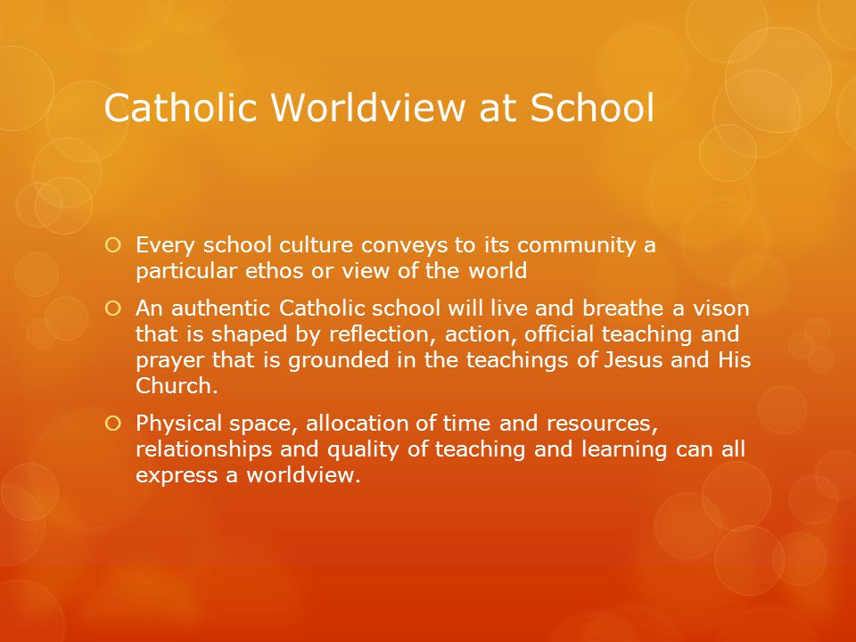 Catholic Worldview at School  Every school culture conveys to its community a particular ethos or view of the world  An authentic Catholic school will live and breathe a vison that is shaped by reflection, action, official teaching and prayer that is grounded in the teachings of Jesus and His Church.