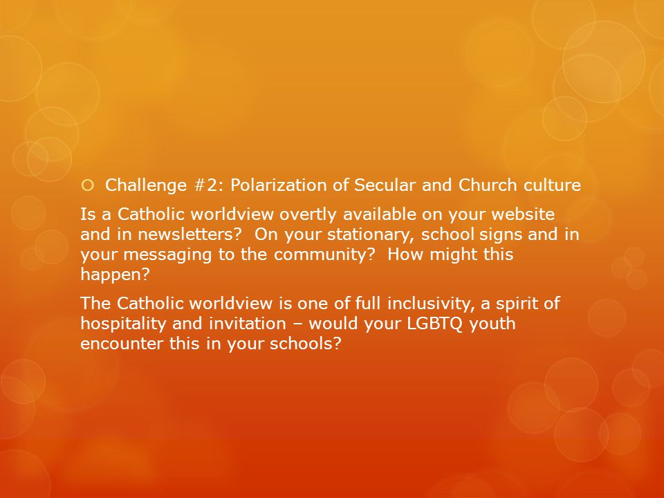  Challenge #2: Polarization of Secular and Church culture Is a Catholic worldview overtly available on your website and in newsletters.