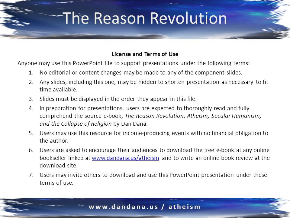 The Reason Revolution Atheism, Secular Humanism, and the Collapse of Religion based on the free e-book by Dan Dana, PhD www.dandana.us / atheism