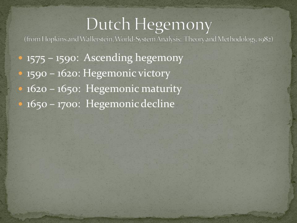 1575 – 1590: Ascending hegemony 1590 – 1620: Hegemonic victory 1620 – 1650: Hegemonic maturity 1650 – 1700: Hegemonic decline