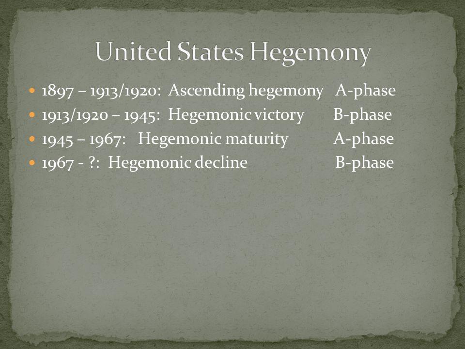 1897 – 1913/1920: Ascending hegemony A-phase 1913/1920 – 1945: Hegemonic victory B-phase 1945 – 1967: Hegemonic maturity A-phase 1967 - ?: Hegemonic decline B-phase