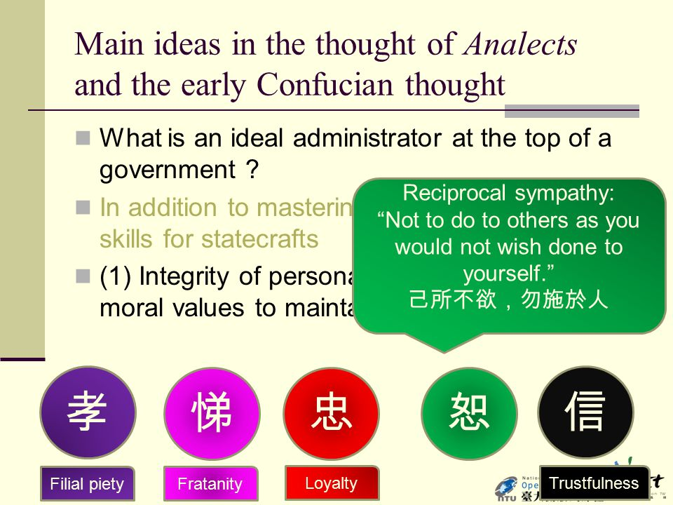 Main ideas in the thought of Analects and the early Confucian thought What is an ideal administrator at the top of a government ? In addition to maste