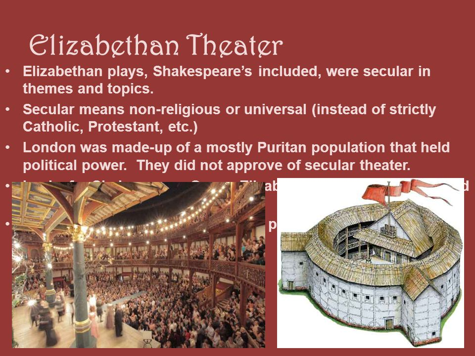 Elizabethan Theater Elizabethan plays, Shakespeare's included, were secular in themes and topics. Secular means non-religious or universal (instead of
