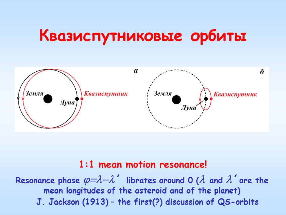 Квазиспутниковые орбиты 1:1 mean motion resonance.